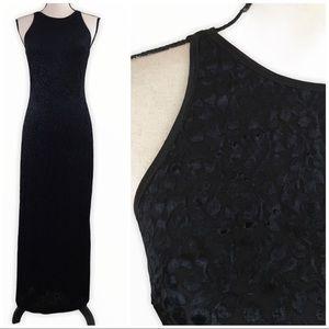 Vintage 90s Rampage Black Velvet Leaves Goth Dress